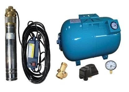 Picture of Kit complet sistem hidrofor, pompa submersibila APC SKM 100/100, rezervor de 100 litri cu manometru, presostat, racord 5 cai, manometru