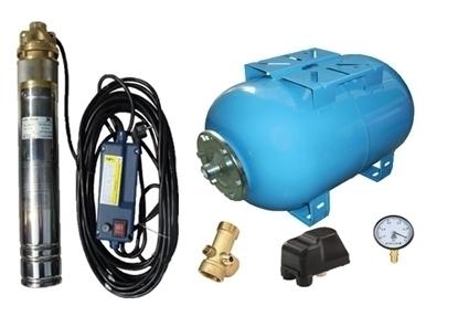 Picture of Kit complet sistem hidrofor, pompa submersibila APC SKM 100/24, rezervor de 24 litri, presostat, racord 5 cai, manometru