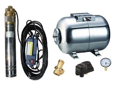Picture of Kit complet sistem hidrofor, pompa submersibila APC SKM 100/50, rezervor de 50 litri din inox, presostat, racord 5 cai, manometru