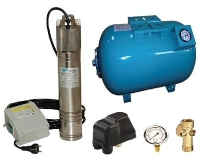 Picture of Kit complet sistem hidrofor, pompa submersibila SUMOTO ONKM150/50, rezervor de 50 litri cu manometru, presostat, racord 5 cai, manometru