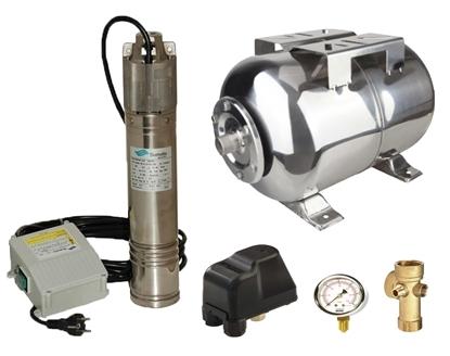 Picture of Kit complet sistem hidrofor, pompa submersibila SUMOTO ONKM150/24, rezervor de 24 litri din inox, presostat, racord 5 cai, manometru