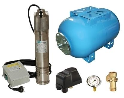 Picture of Kit complet sistem hidrofor, pompa submersibila SUMOTO ONKM150/24, rezervor de 24 litri, presostat, racord 5 cai, manometru