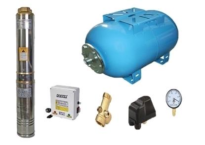 Picture of Kit complet sistem hidrofor, pompa de apa submersibila Raider RD-WP31/100, rezervor de 100 litri, presostat, racord 5 cai, manometru