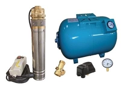 Picture of Kit complet sistem hidrofor, pompa submersibila Omnigena SKM 200/80, rezervor de 80 litri cu manometru, presostat, racord 5 cai, manometru
