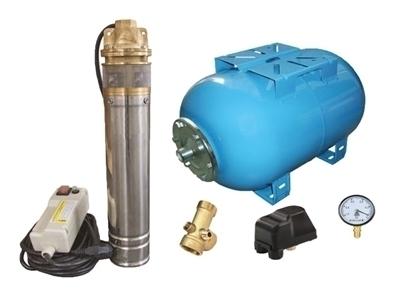 Picture of Kit complet sistem hidrofor, pompa submersibila Omnigena SKM 200/50, rezervor de 50 litri, presostat, racord 5 cai, manometru