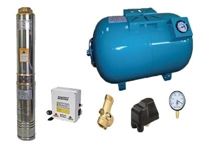 Picture of Kit complet sistem hidrofor, pompa de apa submersibila Raider RD-WP31/50, rezervor de 50 litri cu manometru, presostat, racord 5 cai, manometru