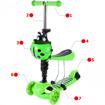 Picture of Trotineta pentru copii MalPlay 2 in 1 cu scaunel si roti luminoase, Verde